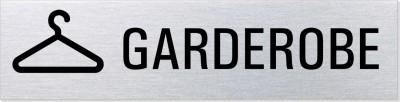 """Hinweisschild Edelstahl """"Garderobe"""""""