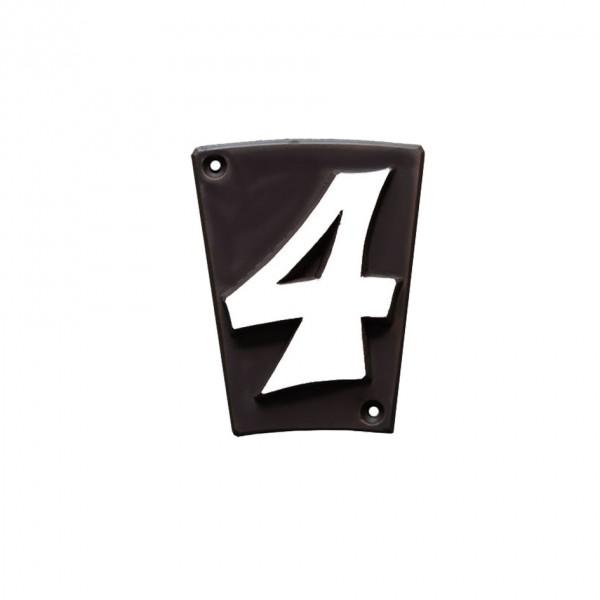 """Hausnummer """"4"""" Keramik schwarzbraun"""