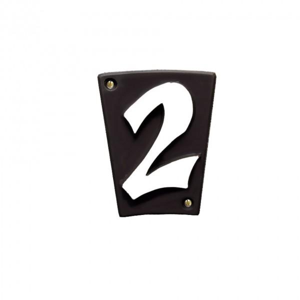 """Hausnummer """"2"""" Keramik schwarzbraun"""