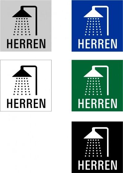 """Hinweisschild """"Dusche Herren"""" Quadrat"""
