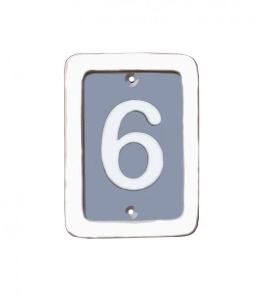 Klassik Rechteck Hausnummer blaugrau