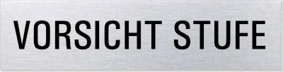 "Hinweisschild Edelstahl ""Vorsicht Stufe"""