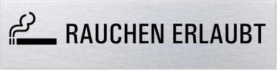 """Hinweisschild Edelstahl """"Rauchen erlaubt"""""""