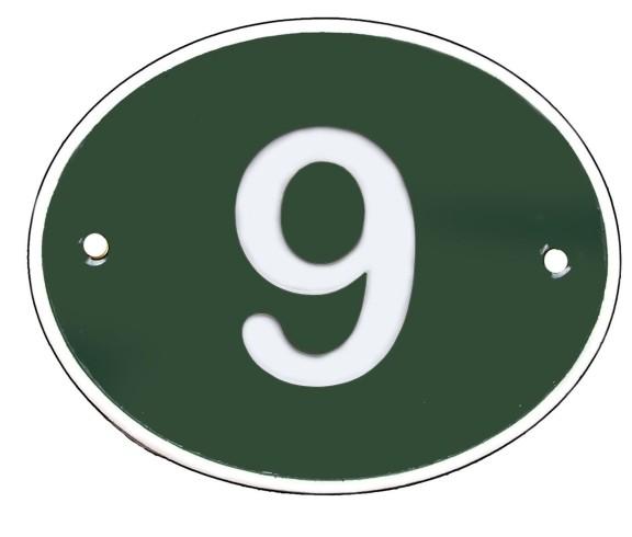 Hausnummer Oval groß edelgrün