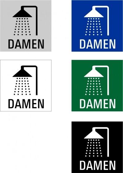 """Hinweisschild """"Dusche Damen"""" Quadrat"""