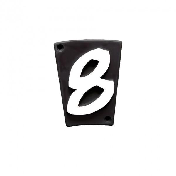 """Hausnummer """"8"""" Keramik schwarzbraun"""