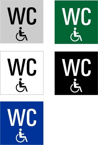 """Hinweisschild """"Behinderten WC"""" Quadrat"""