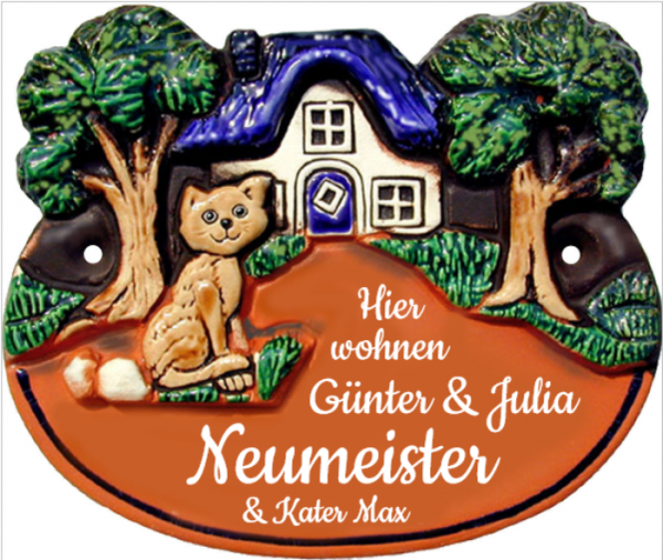 Türschild Landhaus Stil Katze