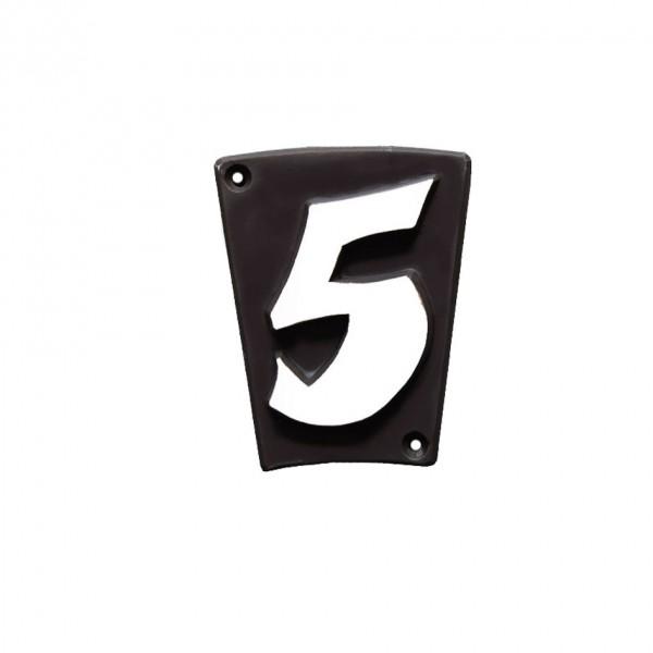 """Hausnummer """"5"""" Keramik schwarzbraun"""